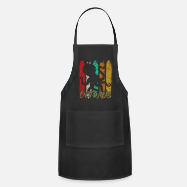 For Octopus Lovers Retro Style Vintage Octopus Silhouette 70s Ocean - Apron