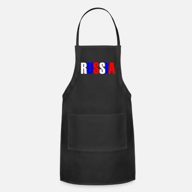 Country Colors Word RUSSIA in tricolor color flag of the country - Apron