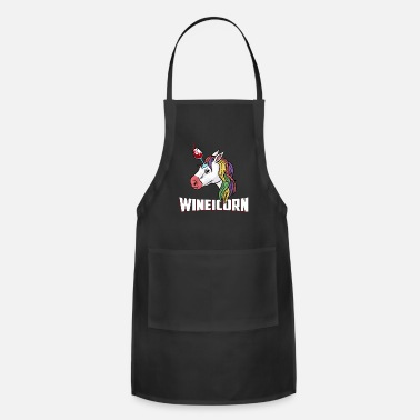 Drinks Buy Cute Wineicorn Unicorn and Wine Shirt Design - Apron