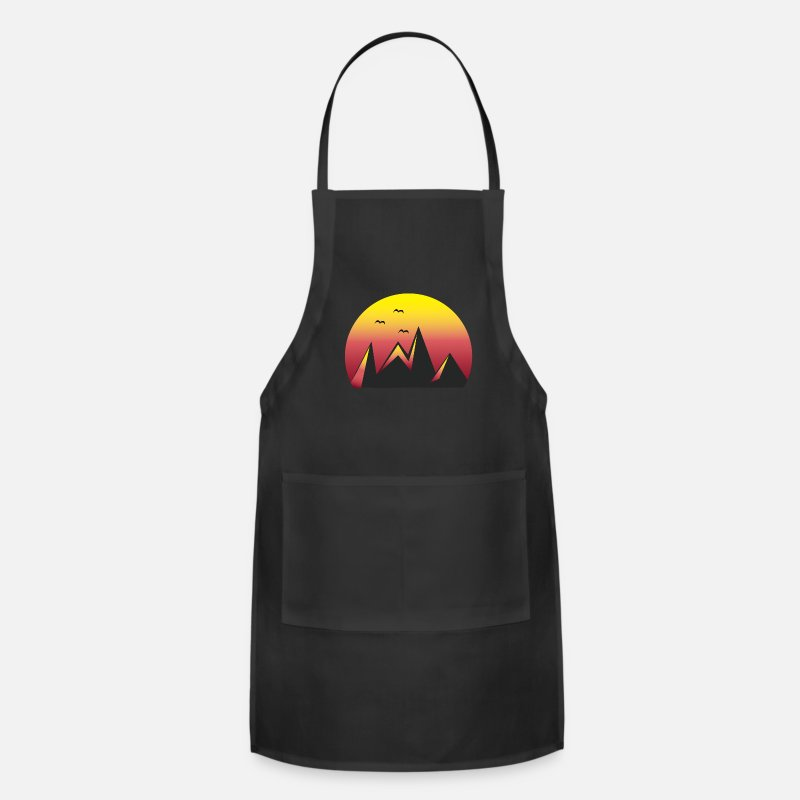 Simple Aprons - Mountains Sunset Red / sports, climbing, halloween - Apron black