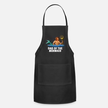 Fathers Day Mermaid Dad Lover Daddy Party Funny Cute Papa Gift - Apron