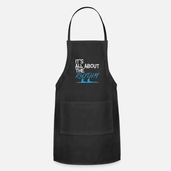 Gift Idea Aprons - Rowing | Saying Water Sports Rhythm - Apron black