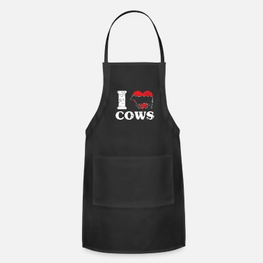 Butcher Cow Bull Black White - Adjustable Apron