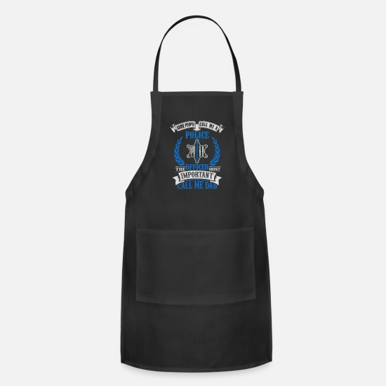 Police Inspector Aprons - Proud Police Officer Dad - Apron black