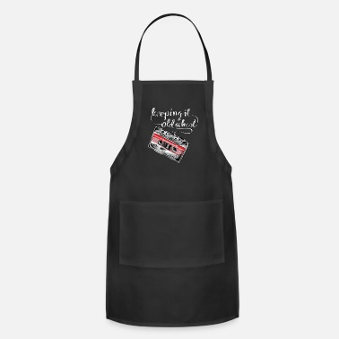 Retro Edm Player Keeping it old school boombox tape 80s music shirt - Apron