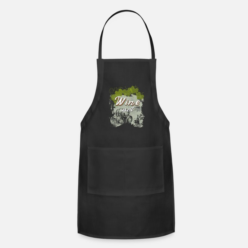 Wine Aprons - Wine not winery red wine grapevine - Apron black