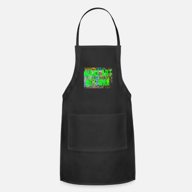 New Age Make Art Not War Lime Bright Peace Graffiti New Age - Adjustable Apron