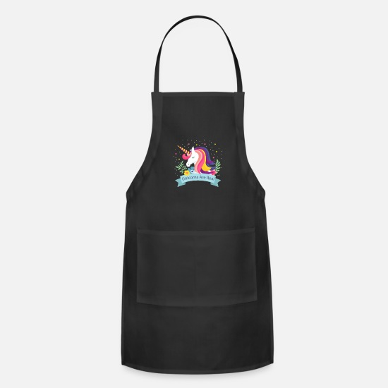 Birthday Aprons - Unicorns Are Real - Limited Edition - Apron black
