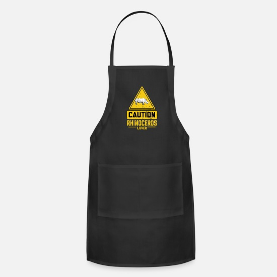 Animal Rights Activists Aprons - CAUTION Rhinoceros Lover - Apron black