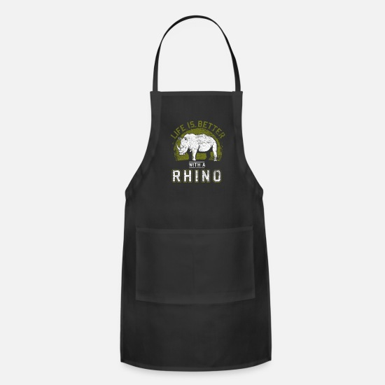 Animal Rights Activists Aprons - Rhinoceros Lover - Apron black
