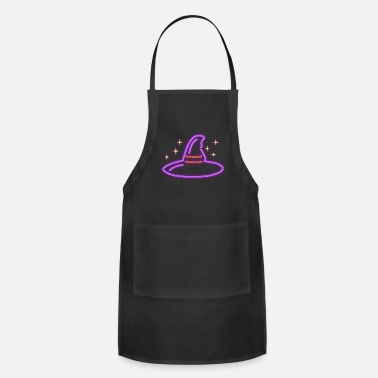 Glowing Neon Halloween Witch Hat Gift Idea Retro Magic - Apron
