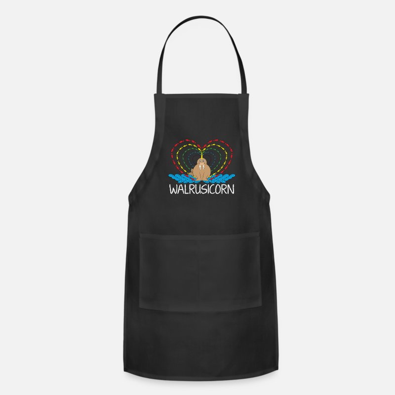 Mythical Aprons - Magical Unicorns Rainbows Cute Walrus Animal - Apron black