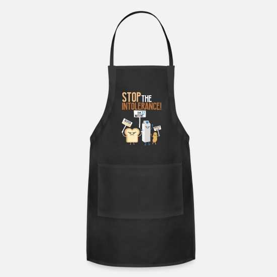 Food Aprons - Food Allergies Are A Real Stop The Intolerance - Apron black