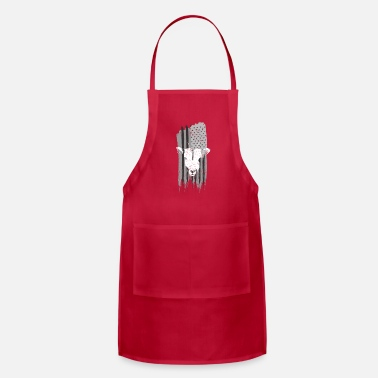 Goat Goat With American Flag Black And White T-Shirt - Apron