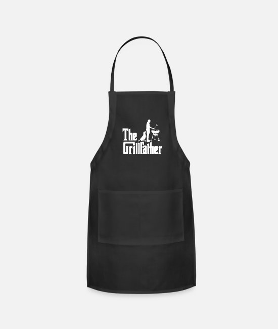Grandpa Aprons - The Grillfather Funny BBQ Grilling Gift for Dad - Apron black