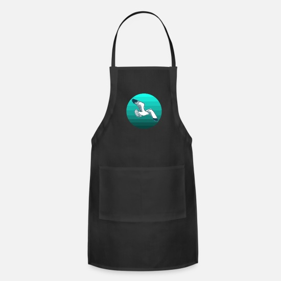 Gift Idea Aprons - Seagull watt bird tern idea sea gift - Apron black