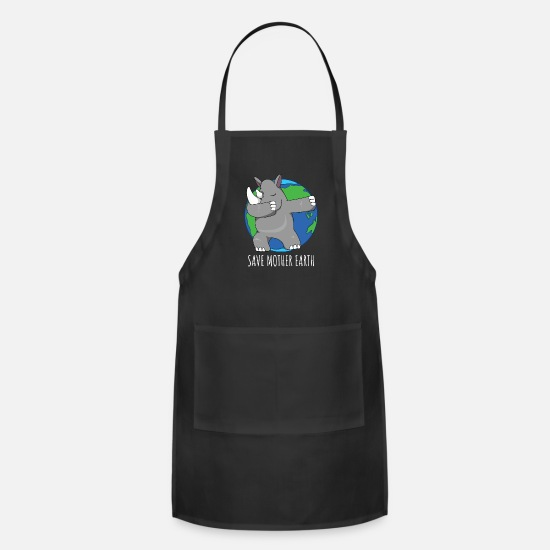 Rhinoceros Aprons - Earth Day rhinoceros animal rights activist gift - Apron black