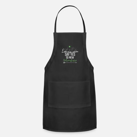 Outdoor Aprons - mountains nature adventure outdoor - Apron black