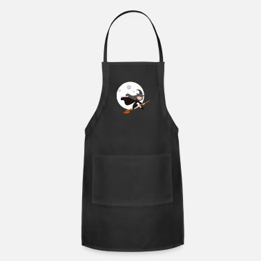 Nighttime Funny Moon - Woman Flying On Broom - Nighttime - Apron