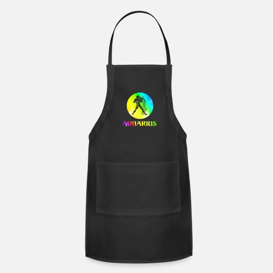 Love Aprons - Aquarius Astrological Sign - Apron black