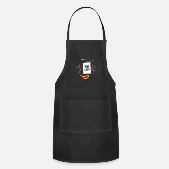 School Aprons - First day of school Hello First Grade pre school - Apron black