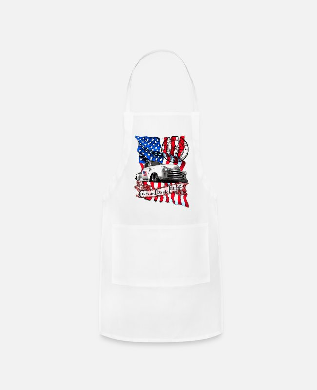 Red Aprons - Custom Classic Pickup Truck United States - Apron white