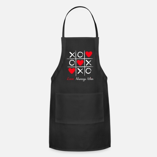 Heart Rate Aprons - Tic and toe heart valentine - Apron black