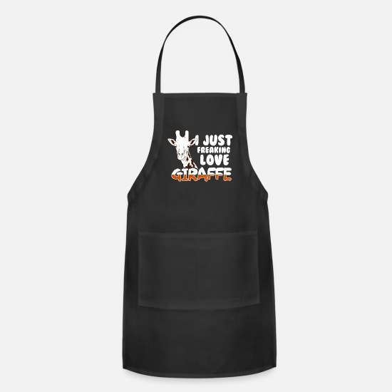 Gift Idea Aprons - Giraffe Love Ruminant animals - Apron black