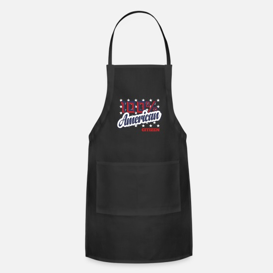 American Aprons - 100% American Citizen Citizenship Day Cute Gift - Apron black