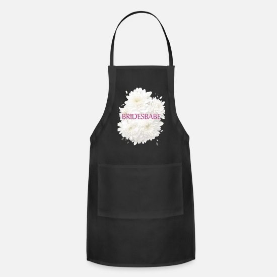 Floral Aprons - Bridesbabe | White Wedding Party Flower - Apron black