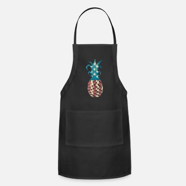 4th Vintage Retro American Flag Pineapple 4th of July - Apron