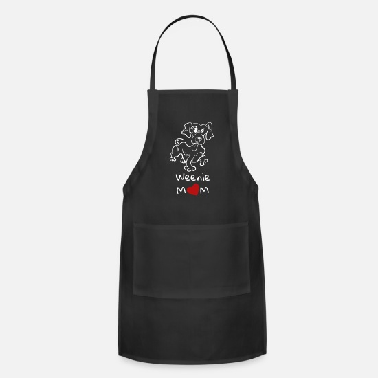 Love Aprons - Weenie mom with Dachshund for dog owners - Apron black