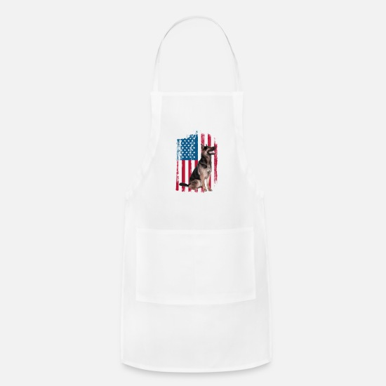 Flag Aprons - Patriotic German American Flag - 4th of July - Apron white