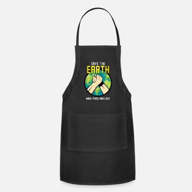 Hands Holding The Earth Save The Earth|make Peace And Love|lock Two Hands - Apron