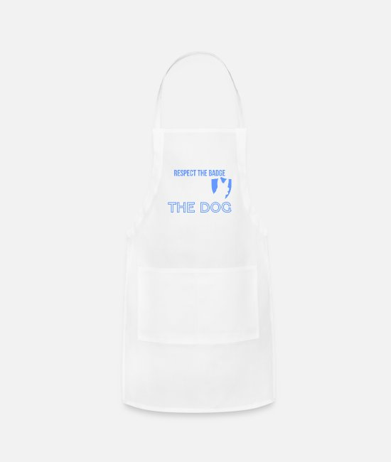 K9 Aprons - Most Men Respect Badge Police K9 German Shepherd - Apron white