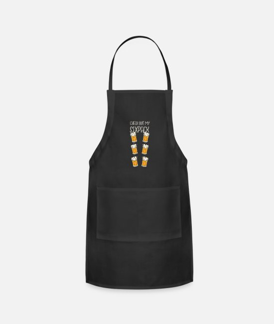 Christmas Aprons - Check out my sixpack beer design - Apron black