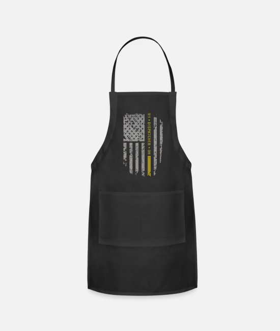 Line Aprons - 911 Dispatcher thin gold line USA flag - Apron black