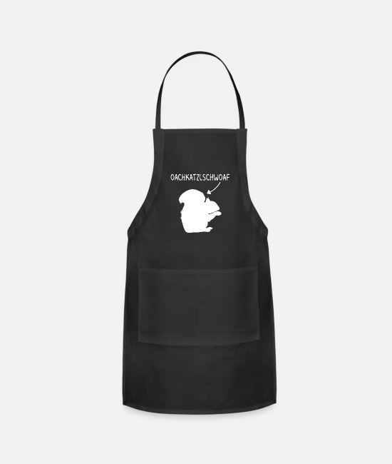 Mountains Aprons - Oachkatzlschwoaf gift Austria leather pants - Apron black