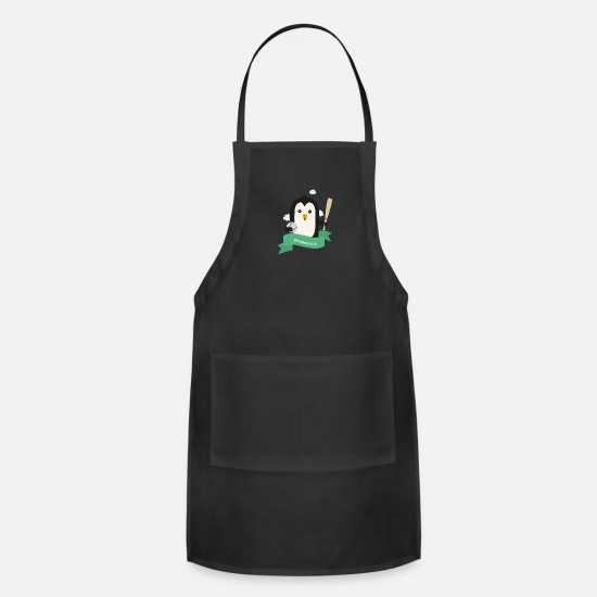 Penguin Aprons - Baseball Penguin from INDIANAPOLIS Gift - Apron black