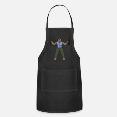 Body Builder Russian fitness bear in a winter cap during - Apron