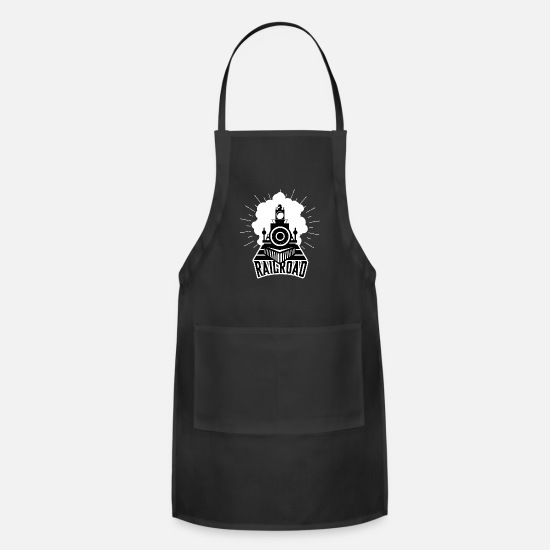 Gift Idea Aprons - Railroad Railway Steam Locomotive Gift Train - Apron black