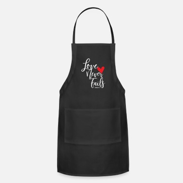 Verse Love Never Fails bible verse design - Apron