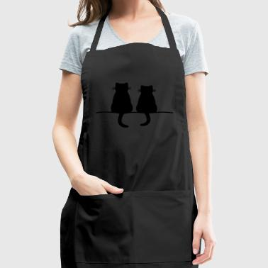 sitting cats cat gift - Adjustable Apron