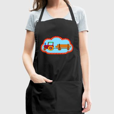 red tractor with trailer - Adjustable Apron