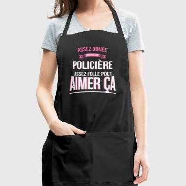 Crazy policewoman crazy gift woman - Adjustable Apron