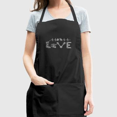 Motocross Tshirt Heartbeat Gift Supermoto Love - Adjustable Apron