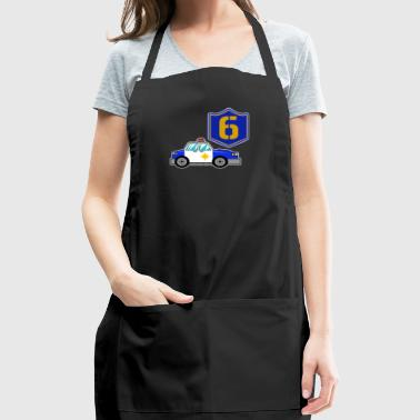 Happy 6th Birthday Police Car - Adjustable Apron