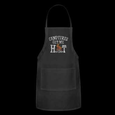 Campfires Get Me Hot Funny Camping Distressed T-Sh - Adjustable Apron