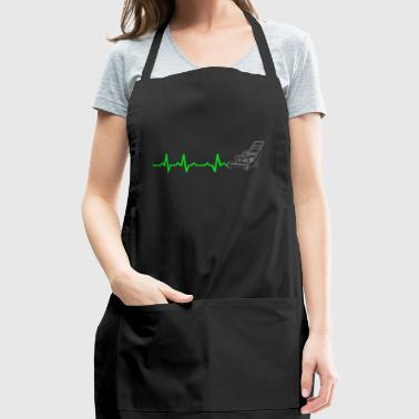 Heartbeats Funny Lawn Mower T-shirt - Adjustable Apron