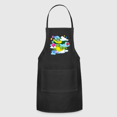 Cute Dragon Fly with Balloon and clouds on sky - Adjustable Apron